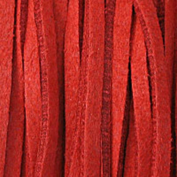 Faux suede 3mm flat red 16+metres