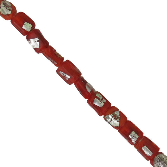 Ind gls 9x4mm rect opqu silver red 12p