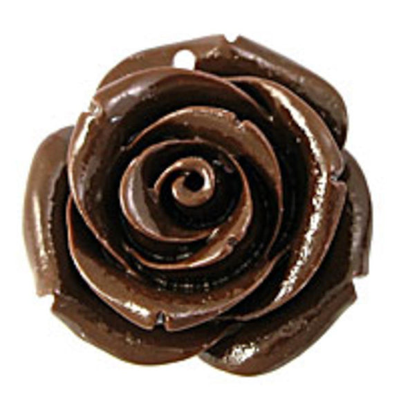 Rs 25mm English rose pendant brown 2p
