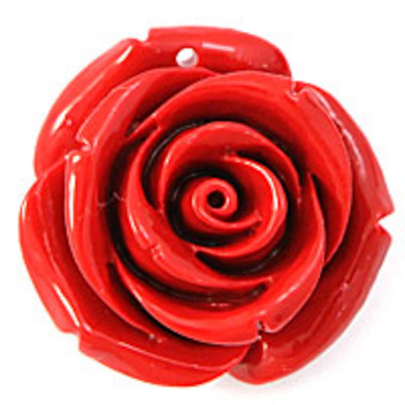 Rs 25mm English rose pendant red 2p