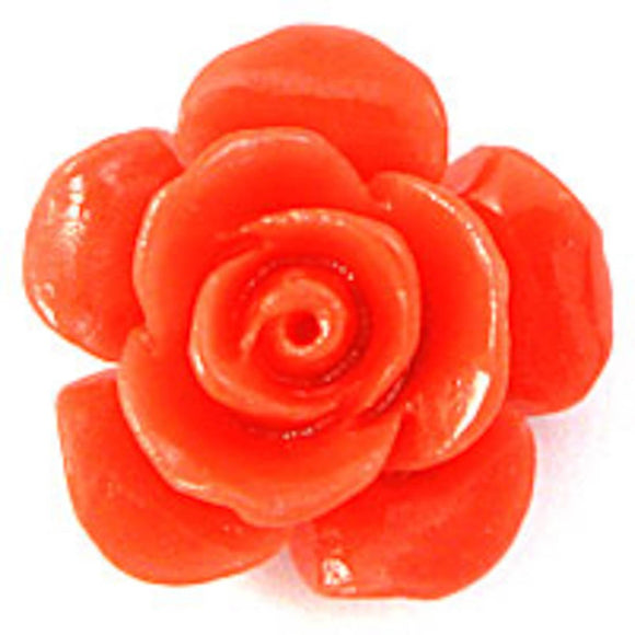 Rs 15mm Euro rose bead coral 6pc