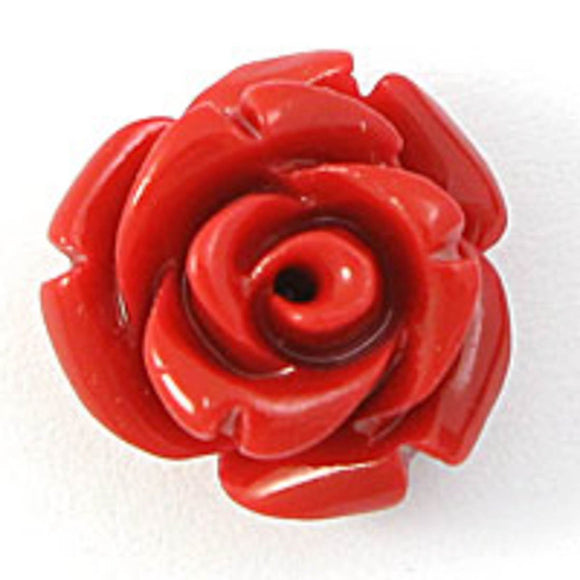 Rs 12mm English rose bead red 6pc
