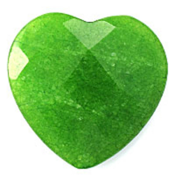 Semi prec 40mm facet heart jade lime 1p