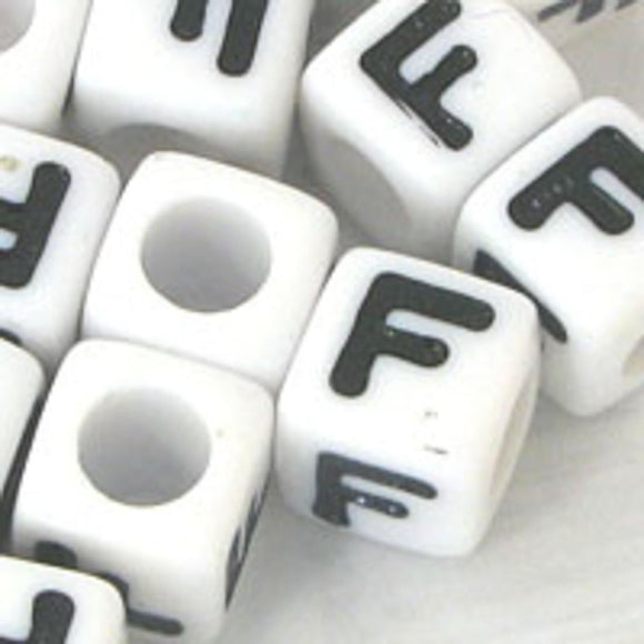 Plas 7mm cube black/white letter F 500p