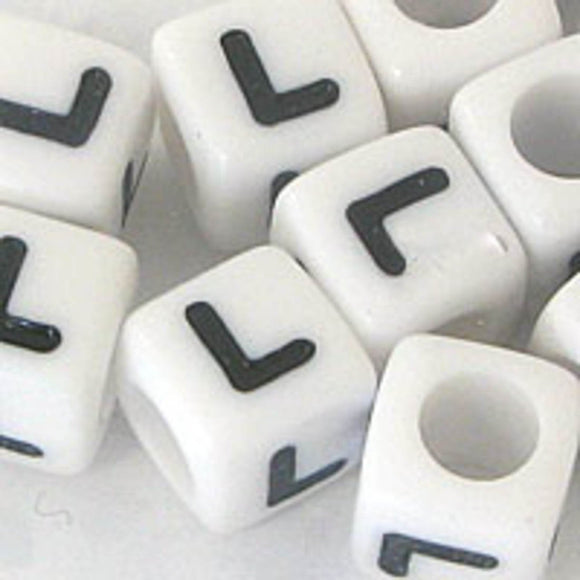 Plas 7mm cube black/white letter L 500p