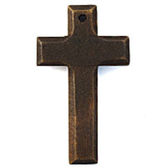 Wood 65x38mm bevelled cross brown 20pc