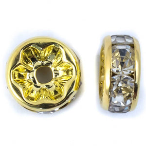 Metal 4mm rnd Swarovski gold/clr 12p