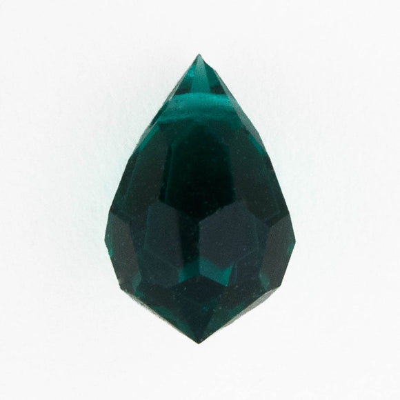 cz 6x10mm faceted drop trns forest 4p