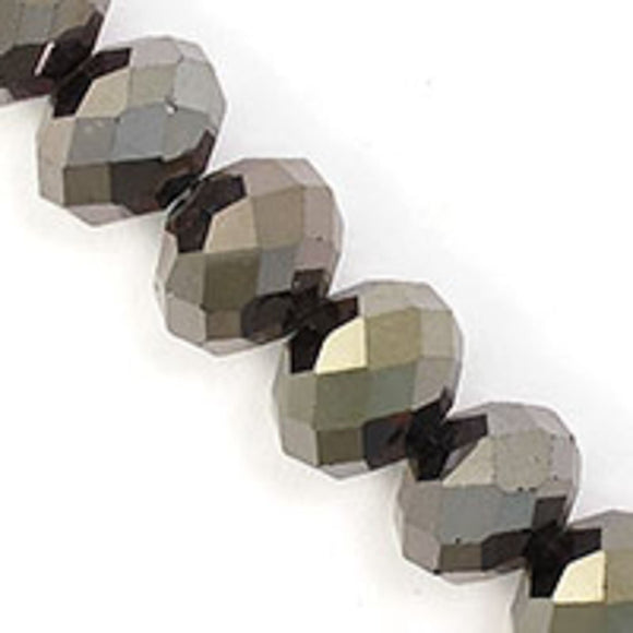 Cg 12x14mm faceted rondel hematite 12p