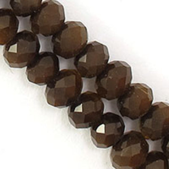 Cg 4x6mm faceted rondel chocolate 100p