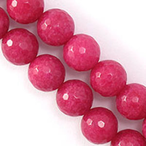 Semi prec 10mm rnd Facet jade cerise 38p