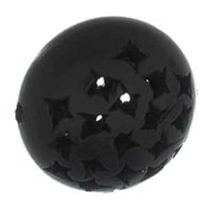 Wood 22x15mm puffy coin stars ebony 2p