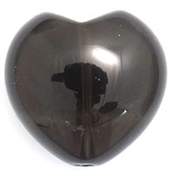 Semi prec 20mm heart smokey quartz 2pcs