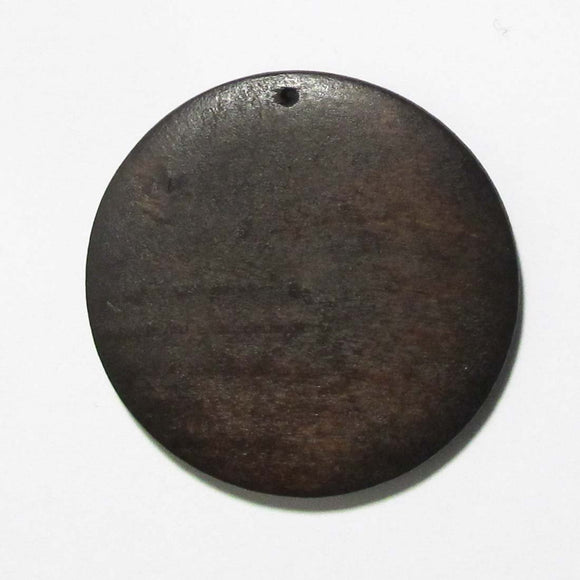 Wood 44mm rnd pendant brown 10pcs