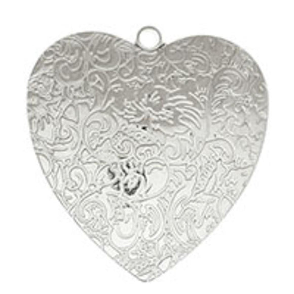 Plas 50mm flat heart/loop floral sil 6pc