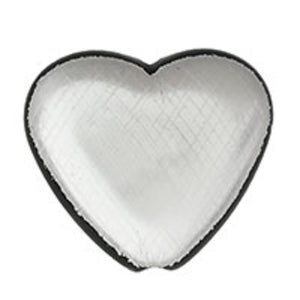 Plas 20mm heart v/hole matt sil/blk 20pc