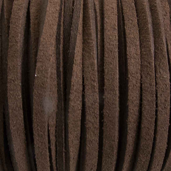 Faux suede 3mm flat chocolate 80metres