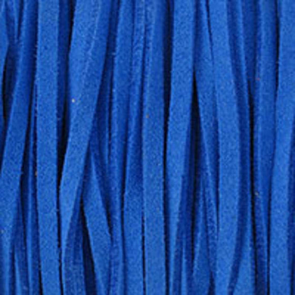 Faux suede 3mm flat elect blue 80metres