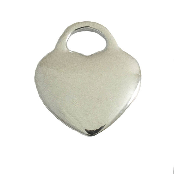 Metal 18mm solid heart NF silver 10pcs