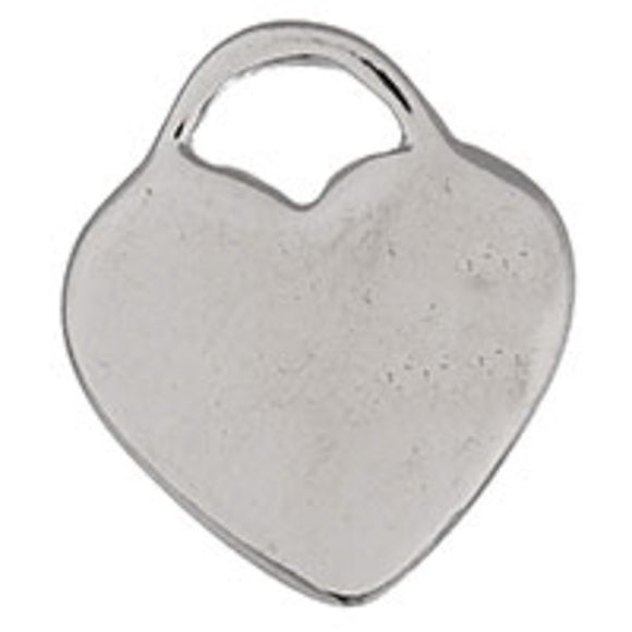 Metal 18mm solid heart NF nickel 10pcs
