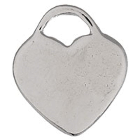Metal 18mm solid heart NF nickel 30pcs