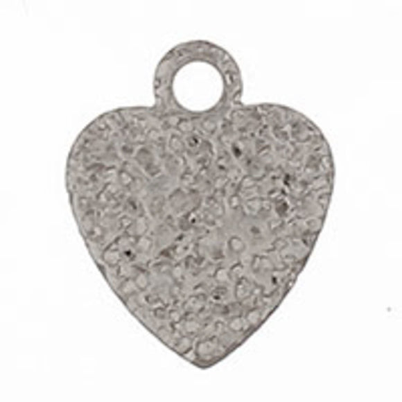 Metal 7mm heart sparkle silver 100pcs