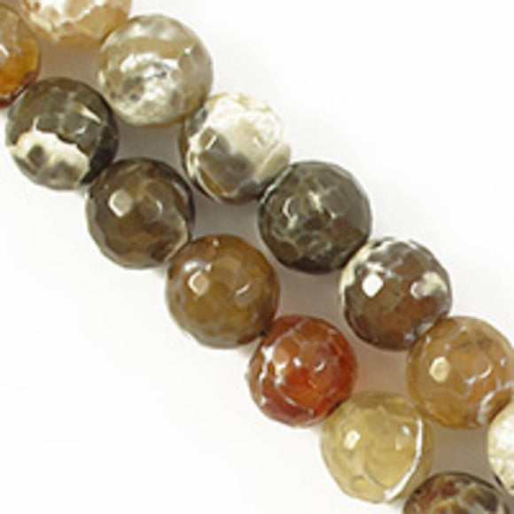 Semi prec 10mm rnd facet agate toffee 38