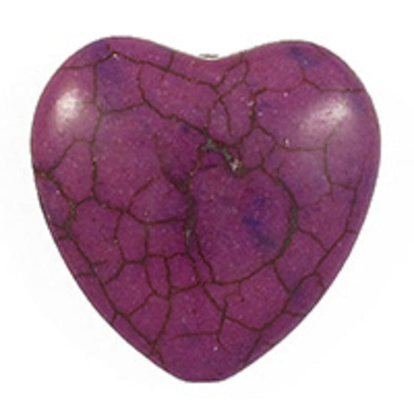 semi prec 24mm heart howlite purple 4pcs