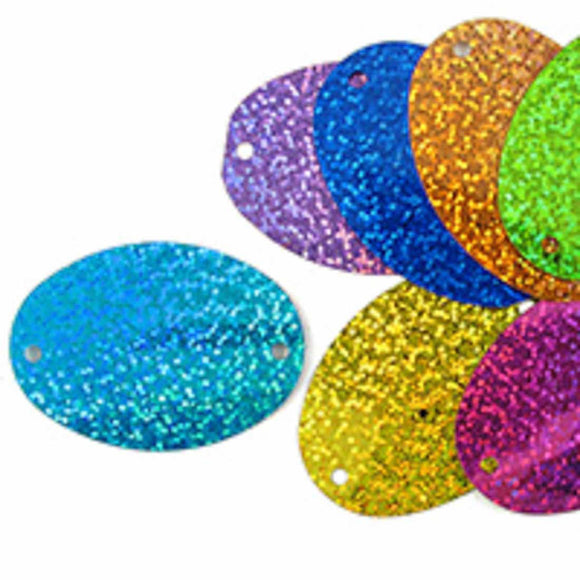 Plas 55mm oval sequins 2/holes multi 20p