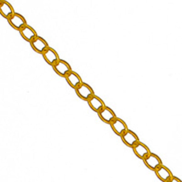 Metal chain 2x1.6mm flat oval gold 2mtr