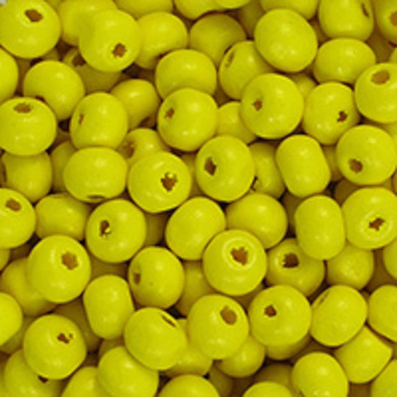 Wood 6mm rnd yellow 20g/300+pcs