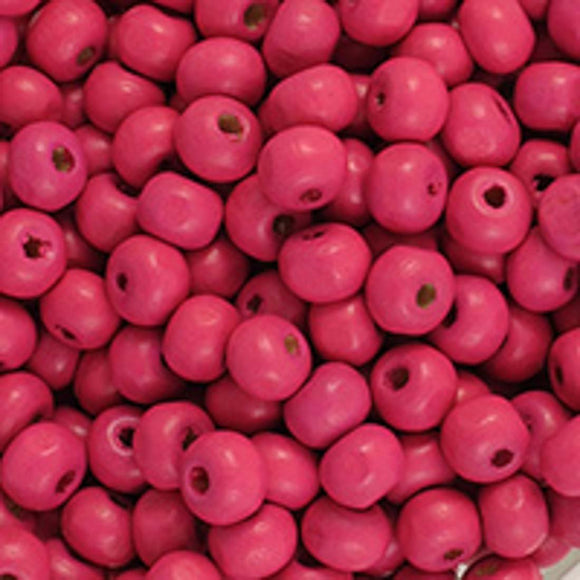 Wood 6mm rnd hot pink 20+g/300p