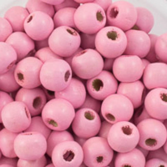 Wood 8mm rnd baby pink 20g/130p