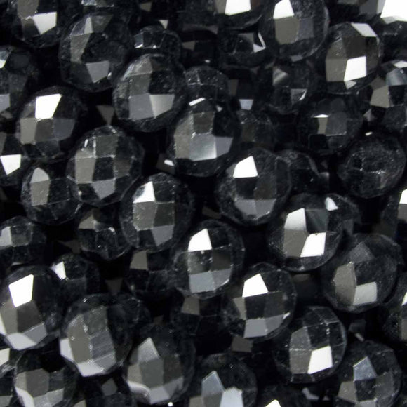 Cg 8x10mm faceted rondel black 50pcs