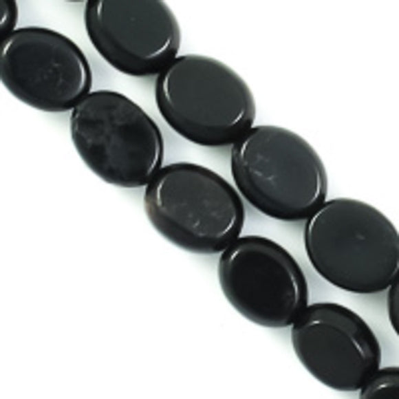 Semi prec 9x7mm oval howlite black 45p