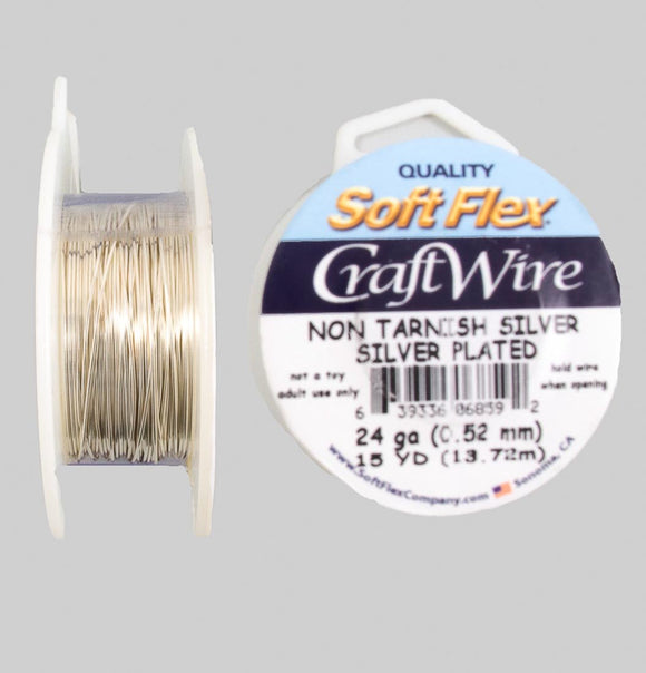Wire 24 gauge non tarnish silver 13.71mt