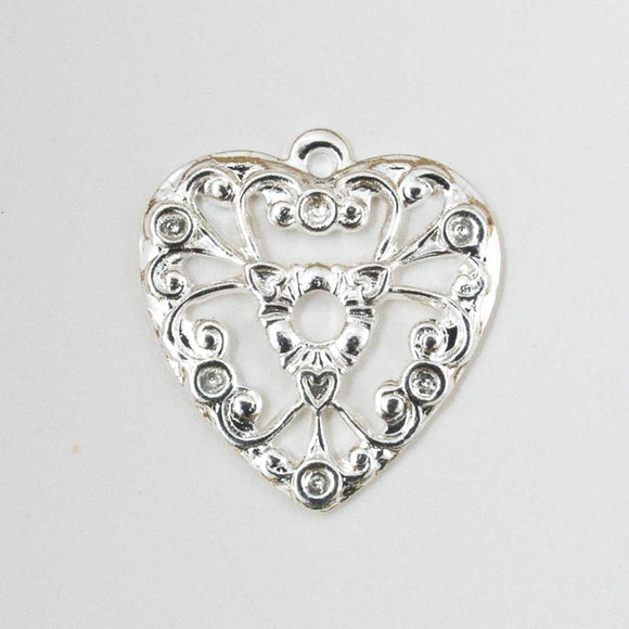 Metal 18mm filigree heart silver 6pcs