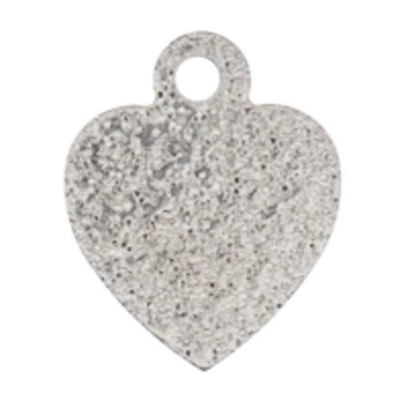 Metal 12mm heart sparkle silver 100pcs