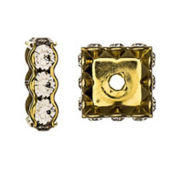 Swarovski 12mm 77614 gold/clr 2pcs