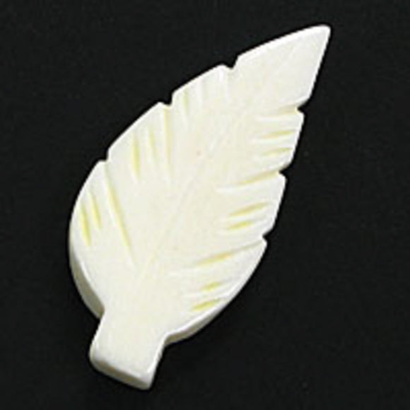 Bone 37x20mm leaf white 4pcs