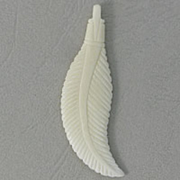 Bone 55x15mm feather white 2pcs