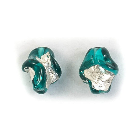 Cz 14mm h/made twist sil teal 2pc