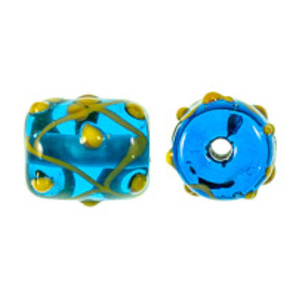 Cz 14x11mm h/made blue/yellow 2pcs