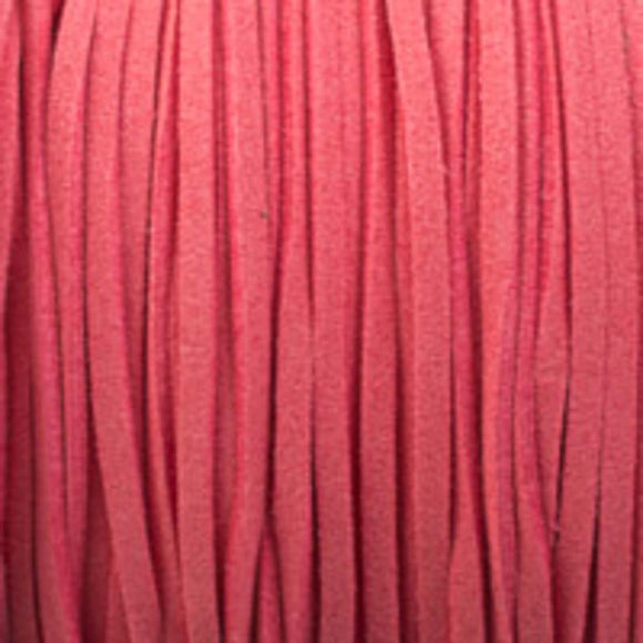 Faux suede 3mm flat candy pink 16+metres
