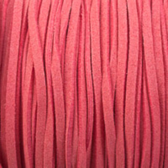 Faux suede 3mm flat candy pink 80metres