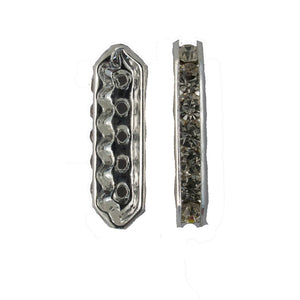 Metal 28mm 5row diamante clear/silver 4p