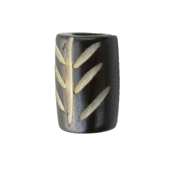 Bone 12x8mm tube carved black 12pcs