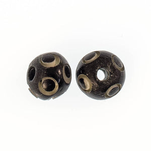 Bone 9mm rnd bead in a bead black 8pcs