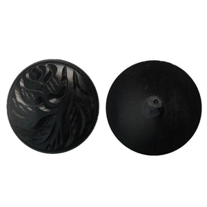 Wood 35mm rnd button EBONY black 1pc