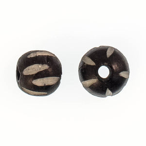 Bone 8mm rnd pumpkin black 10pcs